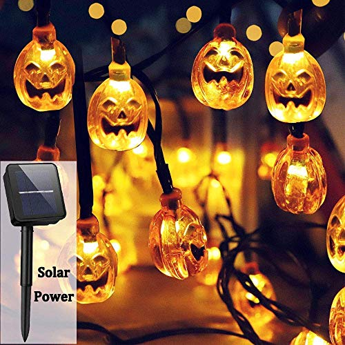 Yostyle Halloween Decor Pumpkin String Lights, Solar String Light,20ft 30 LED Outdoor Decorative Lights for Patio, Garden, Gate, Yard, Halloween Christmas Decoration (IP65 Waterproof,Warm White)