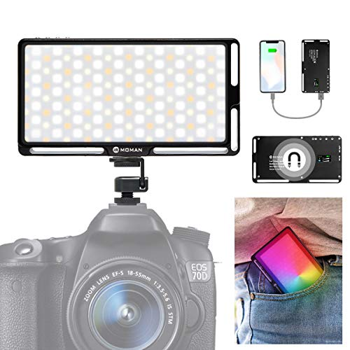 Moman RGB Antorcha-Led-Foco-Vídeo-Cámara con Cagador Portátil Función, Panel Led Fotografia DSLR 3000K-6500K CRI 96+ LED Video Light, Luz Reflex Portátil Super Compacta