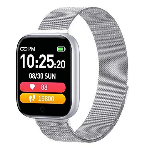 Generies Reloj Inteligente T85 Hombres Mujeres Reloj Inteligente Frecuencia cardíaca Monitor de presión Arterial Bluetooth Impermeable Smartwatch Fitness Deportes Podómetro Pulsera SteelSilver