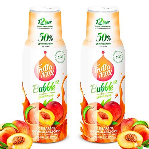 Frutta Max Getränkesirup Frucht-sirup Konzentrat | Pfirsiche Geschmack | weniger Zucker | mit 50% Fruchtanteil | für Soda Maschine geeignet 2erPack(2x500ml)