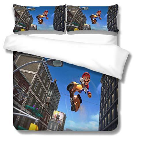 Zbeiba 3D Super Mario Bedding Set,2/3pieces Kids Bedding Set 100% Polyester (Duvet Cover + Pillowcase),#15,single duvet cover,135 * 200cm, Pillowcase 50x70cm