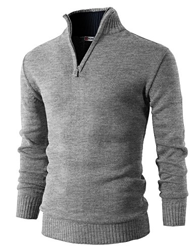 H2H Mens Casual Basic Pullover Sweater of Neck Zipper GRAY US M/Asia L (KMOSWL021)