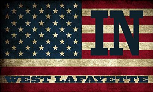 West Lafayette in Indiana Tippecanoe County Vintage US Flag Decal Bumper Sticker 3M Vinyl 3' x 5'