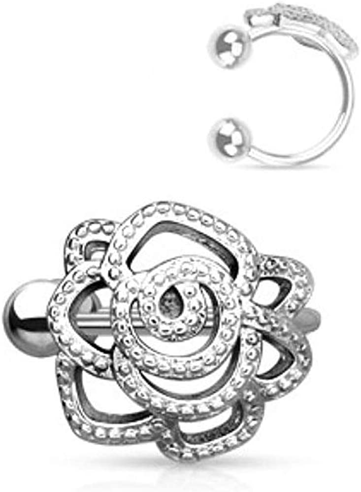 Rose with Paved Beads Non-Piercing WildKlass Ear Cuff
