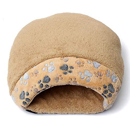 PETZMALL Schöne warme Katze Haus Weiche Kätzchen Schlafsack Nette Katze Bett Höhle für Zuhause (Color : Brown, Size : L)