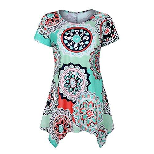 VEMOW Summer Mutter Geschenk Tag Damen Damen Kurzarm Swing Tunika Sommer Floral Flare T-Shirt Top Bluse Shirt Tees Shirt Kleid(Grün, 44 DE/L CN)