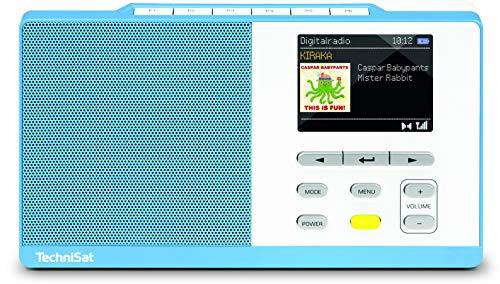 TechniSat DIGITRADIO KIRA 1 - tragbares DAB-Radio (DAB+, UKW, Radiowecker, Farbdisplay, Favoritenspeicher, Kopfhöreranschluss, sechs frei belegbare Direktwahltasten) hellblau/weiß
