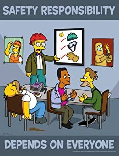 Simpsons Safety Responsibility Poster - Safety Responsibility Depends On Everyone