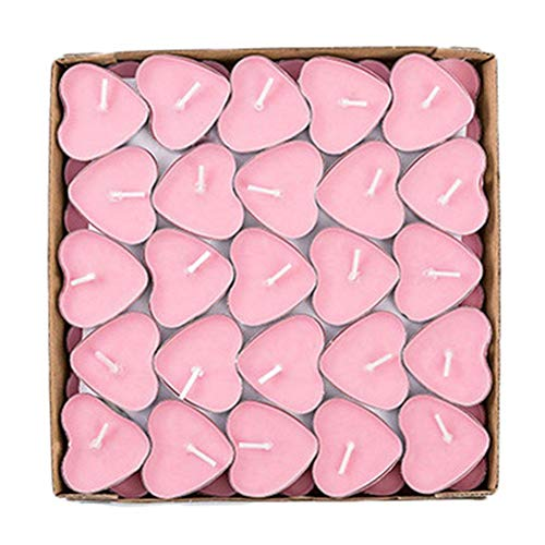 Depory - Juego de velas de té con forma de corazón, rosas, sin humo, románticas, para el día de San Valentín o decoración de boda, 50 unidades