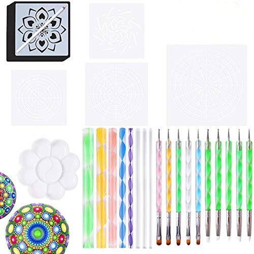 Alumuk 30 Stück Mandala Rock Punktierung Werkzeuge Mandala Dotting Tools Schablone Set dot Painting für DIY Malerei Polymer Clay Keramik Nail Art Handwerk Prägung Muster Zeichnung Drafting