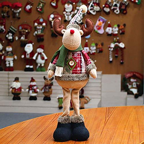 Ohhome Decoración navideña Muñecas Hogar Papá Noel Elk Muñeco de Nieve Decoración de Ventana Suministros de Navdidad (C)