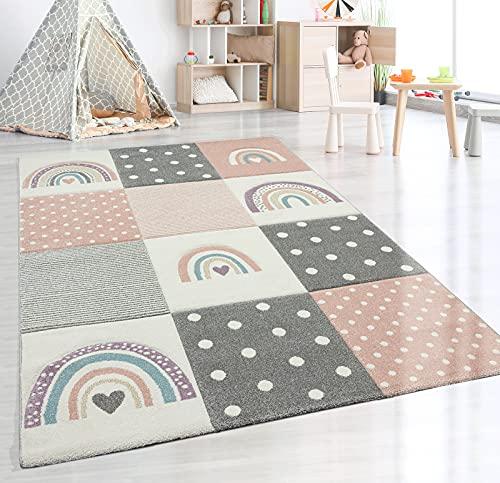the carpet Monde Kids Moderner Weicher Kinderteppich, Weicher Flor, Pflegeleicht, Farbecht, Lebendige Farben, Regenbogen Muster, Rosa, 120 x 170 cm