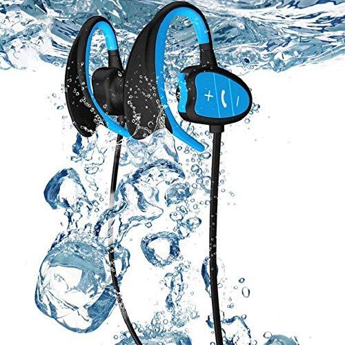 KJRJEJ Wasserdichtes Bluetooth Headset, Kopfhörer-Sport-Kopfhörer Lauf Ipx8waterproof Kopfhörer 6 Stunden Spielzeit High Fidelity-Stereo-Sound