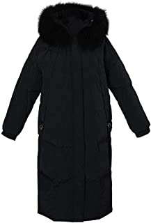 ZYDP Women's Goose Down Jacket Ladies Padded Long Thicken Parka Fur Hood Winter Outwear Warm Overcoat (Color : Beige, Size : M)