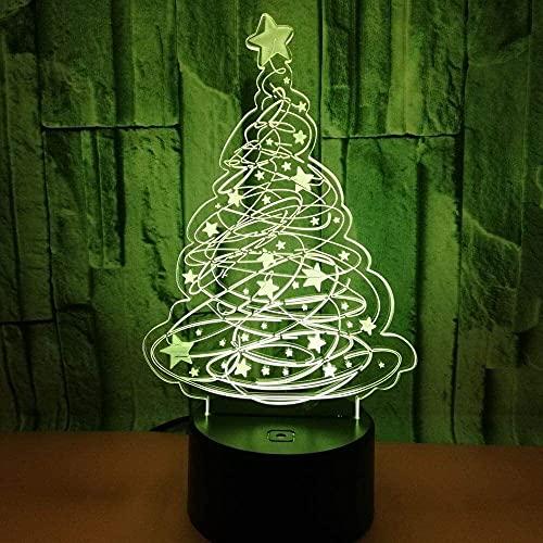 Mu Mianhua Lámpara de Mesa Árbol de Navidad LED gradiente de Color 3D 3D Toque Remoto lámpara de Escritorio USB lámpara de Noche al Lado de la Cama decoración Creativa Escritorio Regalo de cumpleaños