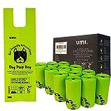 Amazon Brand - Umi Bolsas Caca Perro, Bolsas Excrementos de Perro Biodegradables - Origen Vegetal, Compostaje, Sin Microplásticos, Resistentes a Fugas - 13 x 40 cm con Asas, 120 Bolsas
