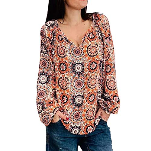 Find Bargain Redacel Women's Print Shirt, Fashion Long Sleeve Floral Print V Neck Long Sleeved Shirt...