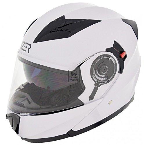 CRUIZER Helm Modular Motorrad zugelassen ece-22–05, weiß glänzend, Größe S