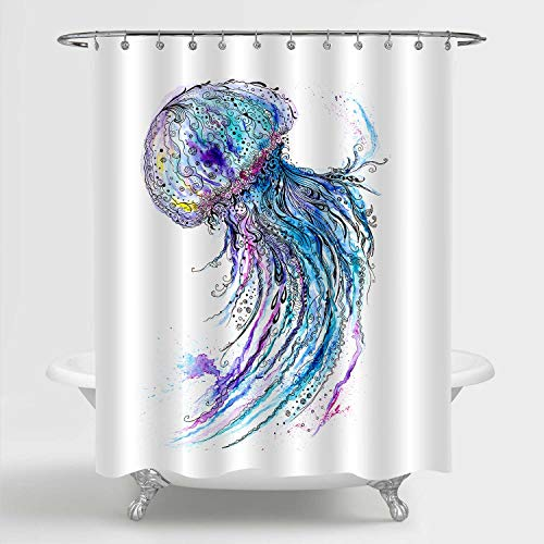 MitoVilla Watercolor Jellyfish Shower Curtain, Deep Sea Wildlife Medusa Artwork Bathroom Accessories for Tropical Marine Themed Home Decor, Ocean Gifts for Women, Men and Kids, Blue, 72' W x 78' L