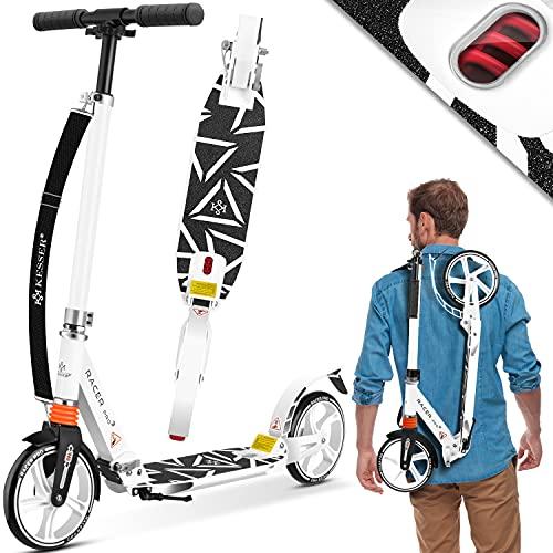 KESSER® Cityroller Scooter 205mm Räder PU Big Wheel - Pro-S Tretroller mit Doppel Federung, City-Roller Scooter klappbar und Höhenverstellbar, Roller Kickscooter für Erwachsene und Kinder, Weiß