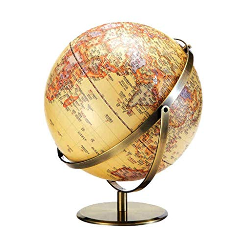 Globo Terráqueo Mapa Motivos Decoración Globo Mundo Artesanías Clásicas Globos Detallada Geográfica Alivio Chino-Inglés 32cm (Color : Retro)