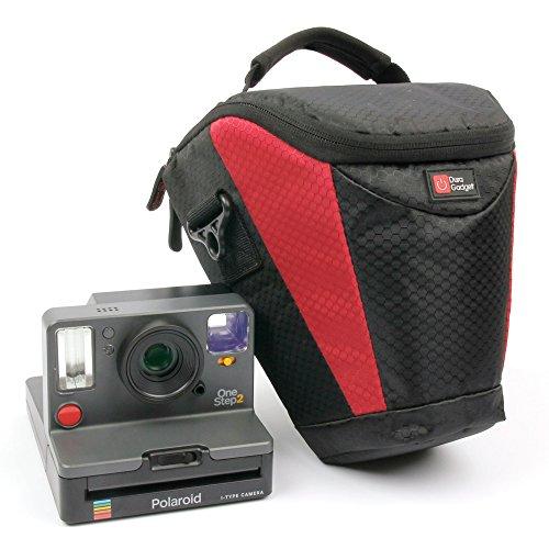 Duragadget - Funda de transporte para cámara instantánea Polaroid One Step 2, One Step 2 ViewFinder 9009/9008, One Step+ 9010/9015 y accesorios - Rojo y negro - Correa de hombro Bonus