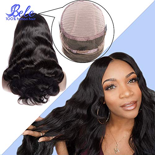 Bele perruque de cheveux humains 360 dentelle perruque frontale180% densité brésilienne vague de corps vierge de cheveux humains délié 12 pouces