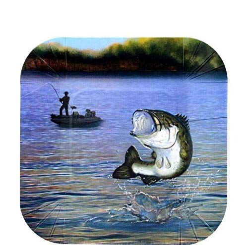 Buy Fishing Dessert Plate (7, Square, Paper Plates - 8 Pack) Gone Fishin' Party Collection by Haver...
