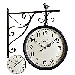 Double Sided Wall Clock, Vintage Antique-Look Wall-Mounted Clock with Waterproof Cover for Indoor & Garden, Hanging Décor, Black (Color : A)
