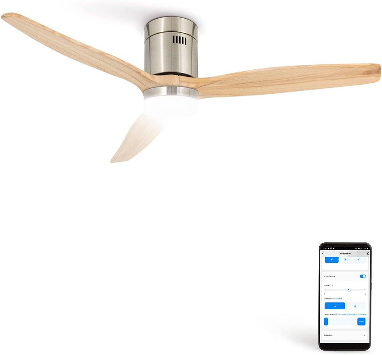 CREATE IKOHS WINDCALM DC STYLANCE NICKEL - Ventilador de Techo Wifi, con Mando a Distancia, 3 Aspas, Potencia de 40W, Ultrasilencioso, 132 cm de Diametro, 6 Velocidades (con luz - Madera natural)