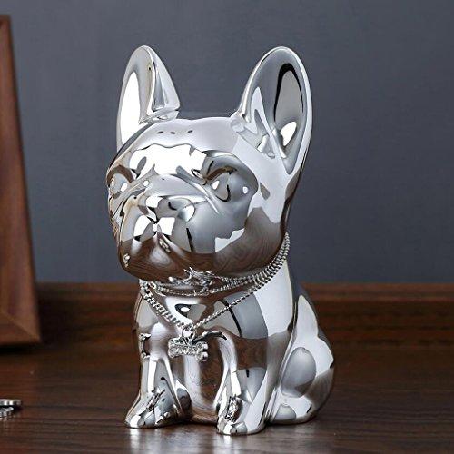 JPVGIA Ornamentos de la Escultura de la Resina Ambiental, Hucha del Perro de los niños, Regalo de cumpleaños de los niños creativos, 10 * 7.5 * 11cm (Color : Silver)