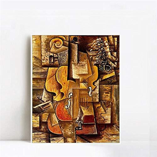 WJY Violon et rai von Picasso Violin Poster und Drucke Wandkunst Abstrakt Ölgemälde Modulare Malerei Modern Home Decor Leinwand Kunst 40cm x60cm Kein Rahmen
