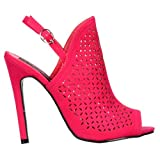 Onlineshoe señoras Mujeres Peep Toe Sling Back Heel - Laser Cut con ventilación de Salida Sandalias - Fucsia Suede Rosa UK 7 - EU40