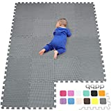 qqpp Alfombra Puzzle para Niños Bebe Infantil - Suelo de Goma EVA Suave. 18 Piezas (30*30*1cm), Gris. QQC-Lb18N