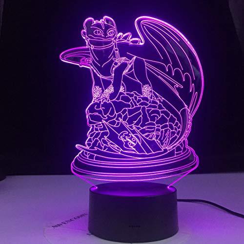 Cómo entrenar a tu dragón lámpara lámpara de dragón sin dientes lámpara de mesa luz de noche 3D LED para decoración de fiesta de mesa de comedor de jarrón familiar