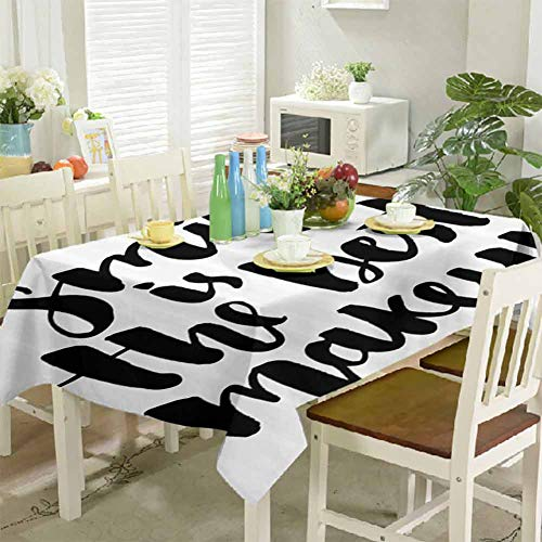 DRAGON VINES Tablecloth Clip Smile is The Best Makeup Inspirational Quote Handwritten Daily Motivations Design Wedding Party Kitchen Banquet Table Cover 60 x 60 inch