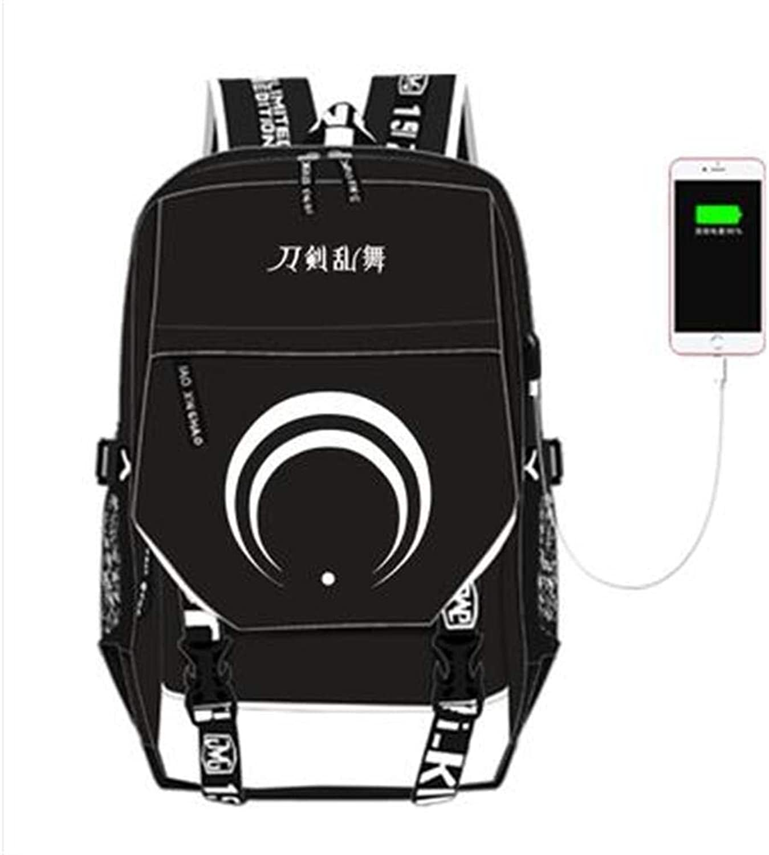 Unisex Anime Backpack Laptop Bag Travel Camping Daypack USB Charge School Bag,B
