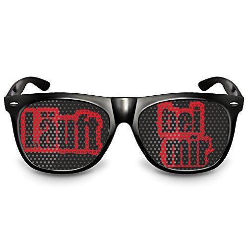 """drucksda COOLEARTIKEL Partybrille Motiv """"Läuft bei mir""""   beklebte Sonnenbrille   Spaßbrille für Mottoparty   Atzenbrille/Fliegerbrille mit UV-Schutz   UV 400 Filter 3   Schwarz"""