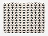 Lunarable Vintage Bath Mat, Contemporary Inspired Damask Mosaic Stars Oriental Moroccan Floral Tiles Layout, Plush Bathroom Decor Mat with Non Slip Backing, 29.5' X 17.5', Black Ivory