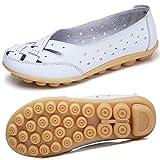 Mocasines para Mujer Ligero Loafers Casual Zapatillas Verano Zapatos del Barco Zapatos para Mujer Zapatos de Conducción Blanco 35EU=35CN