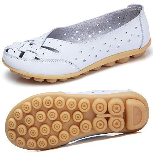 Mocasines para Mujer Ligero Loafers Casual Zapatillas Verano Zapatos del Barco Zapatos para Mujer Zapatos de Conducción Blanco 39.5EU=41CN