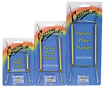 Deluxe Plate Display Hangers - 3 Different Sizes Assortment - Assembled & Ready To Use - Hang 5 to 14 Inch Plates - Gold Wire Spring Type Hanger Hooks & Nails Included -Pack of 3 Hangers