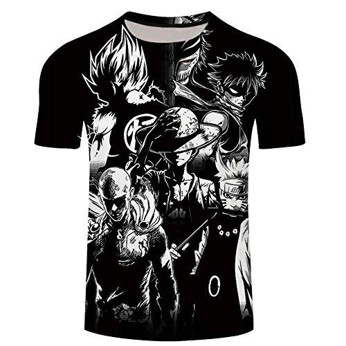 Japonesa Anime Mangas Cortas Camiseta,Una Pieza 3D impreSión Digital Casual Camiseta de Manga Corta para hombreS-Xt465_XXL