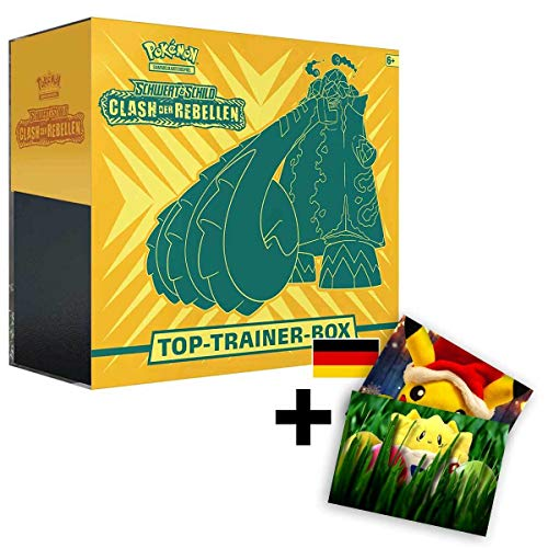 Lively Moments Pokemon Karten Top Trainer Box Schwert & Schild Clash der Rebellen Deutsch DE + Exklusive GRATIS Grußkarte