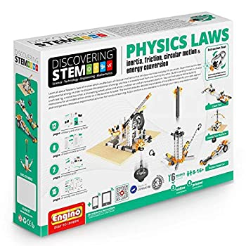 Engino ENG-STEM902 Physics Laws-Inertia Friction Circular Motion and Energy Conservation Building Set  118 Piece  Blue