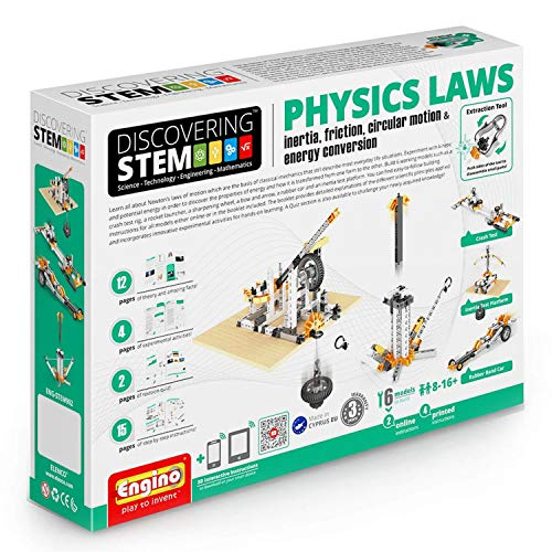 Engino ENG-STEM902 Physics Laws-Inertia, Friction, Circular Motion and Energy Conservation Building Set (118 Piece)