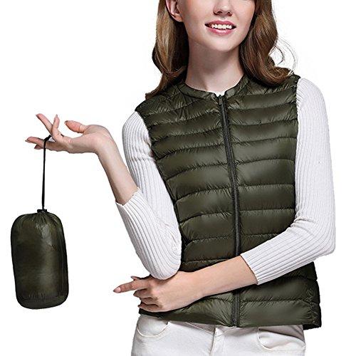 Damen Daunenweste Ultraleicht Zusammenklappbar Daunenjacke Steppweste Weste Armee-Grün XL