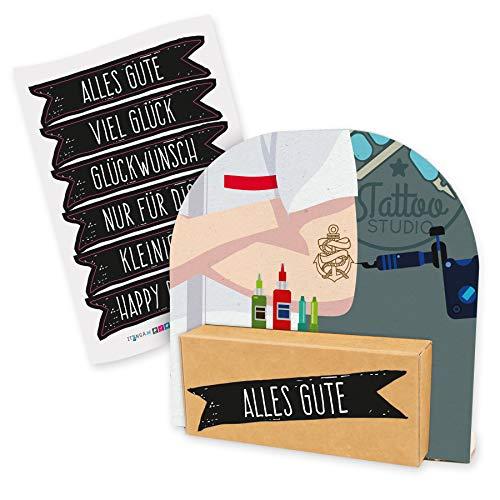 itenga Geldgeschenk oder Gutschein Verpackung Geschenkaufsteller Motiv/Anlass Tattoo Piercing Körperschmuck modern mit Stickerbogen aus Karton 12x11,5cm