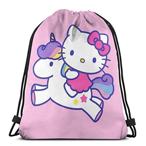 Hello Kitty con unicornio clásico con cordón bolsa de gimnasio mochila hombre mujer bolsa de hombro de almacenamiento deportivo