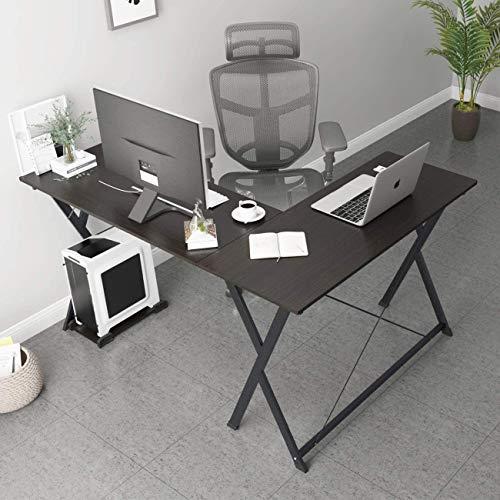 sogesfurniture Escritorio Esquinero para Ordenador, Mesa de Ordenador en Forma de L, Mesa de Estudio Escritorio de la Computadora para Casa, Oficina, (158+120) x48x75cm, BHEU-ZJ1-BK